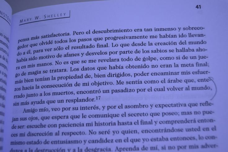 """Frankenstein"" de Mary Shelley (fragmento)."