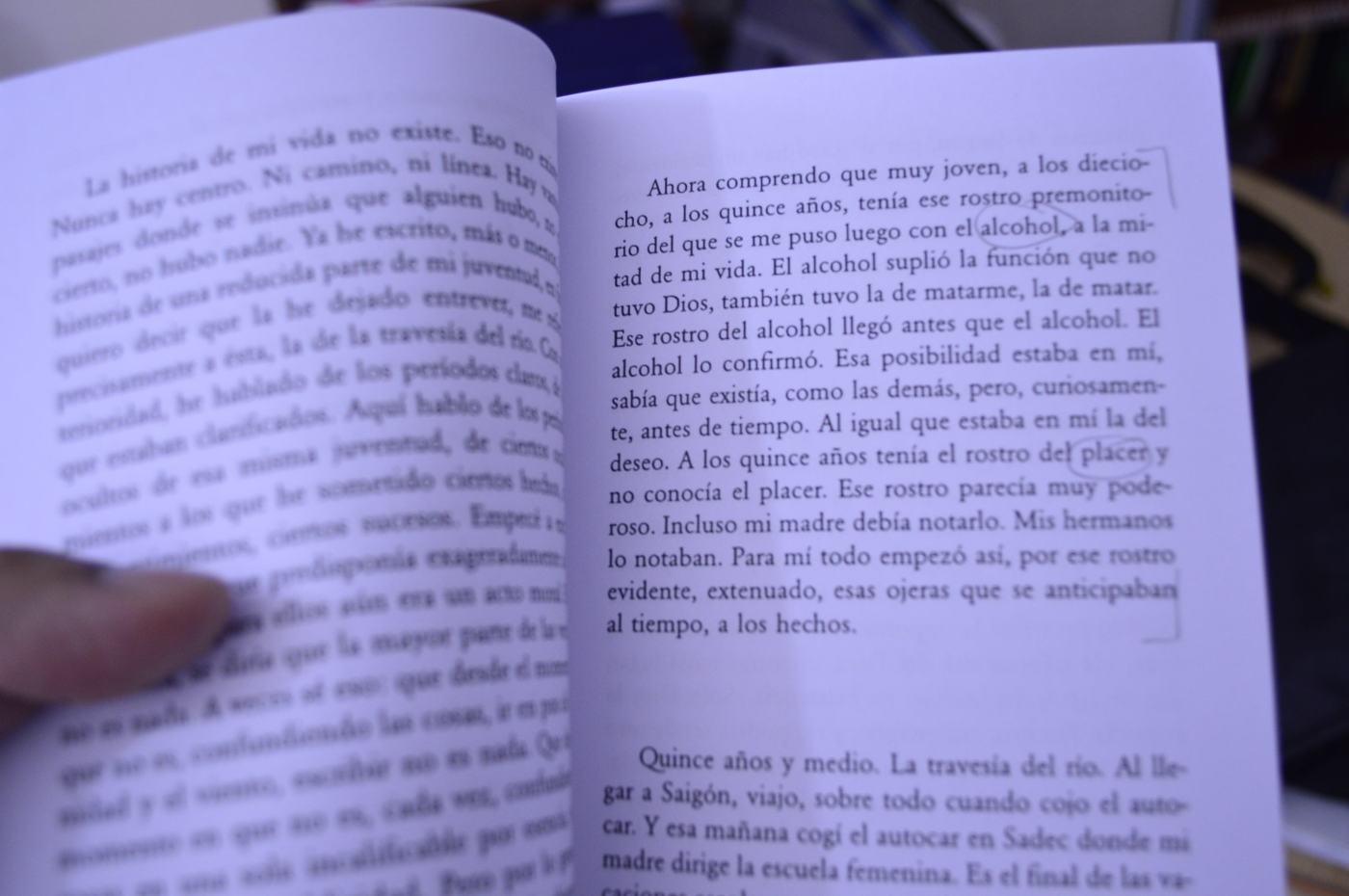 """Fragmento de """"El amante"""" de Marguerite Duras"""