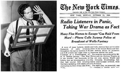 Orson en la radio, y el NYT al día siguiente, en el día de Halloween.